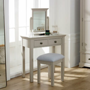 Details About Taupe Grey Dressing Table Mirror Stool Vanity Set Painted Bedroom Furniture