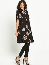 Vila Nadine Short Sleeved Oversized Shirt Dress Size 16 BNWT RRP £38.99 Black