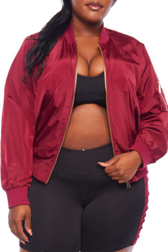 Womens Plus Casual Streetwear Trendy Solid Zipper Bomber Jacket J7004