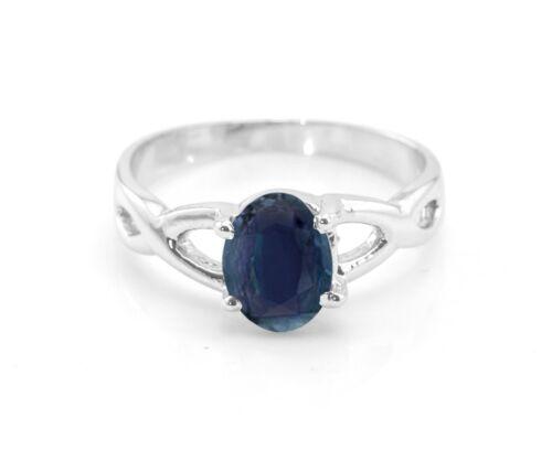 Argent Sterling Naturel Saphir Bleu Ring Cross-Tige Solitaire Taille 4-11
