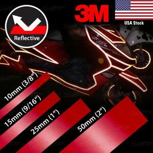 "3/8"" 9/16"" 1"" 2"" REFLECTIVE Self Adhesive PinStripe Vinyl 3M Tape Sticker RED"