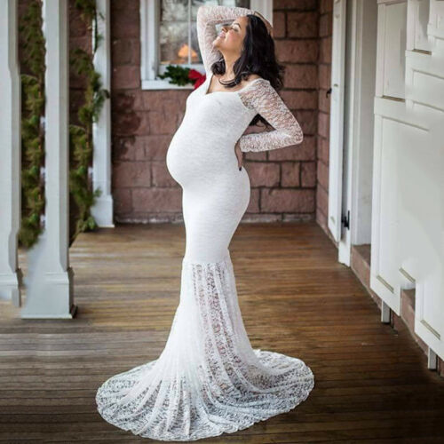 Women Pregnant Maternity Lace Long Sleeve Off Shoulder Wedding Dress Ball Gown