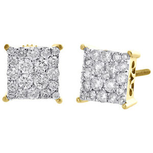 Boucles 10k 5mm Or About Vrai Diamant 7 4 Clou Details Broches D'oreilles Carré Serti Jaune FJ3TlKc1