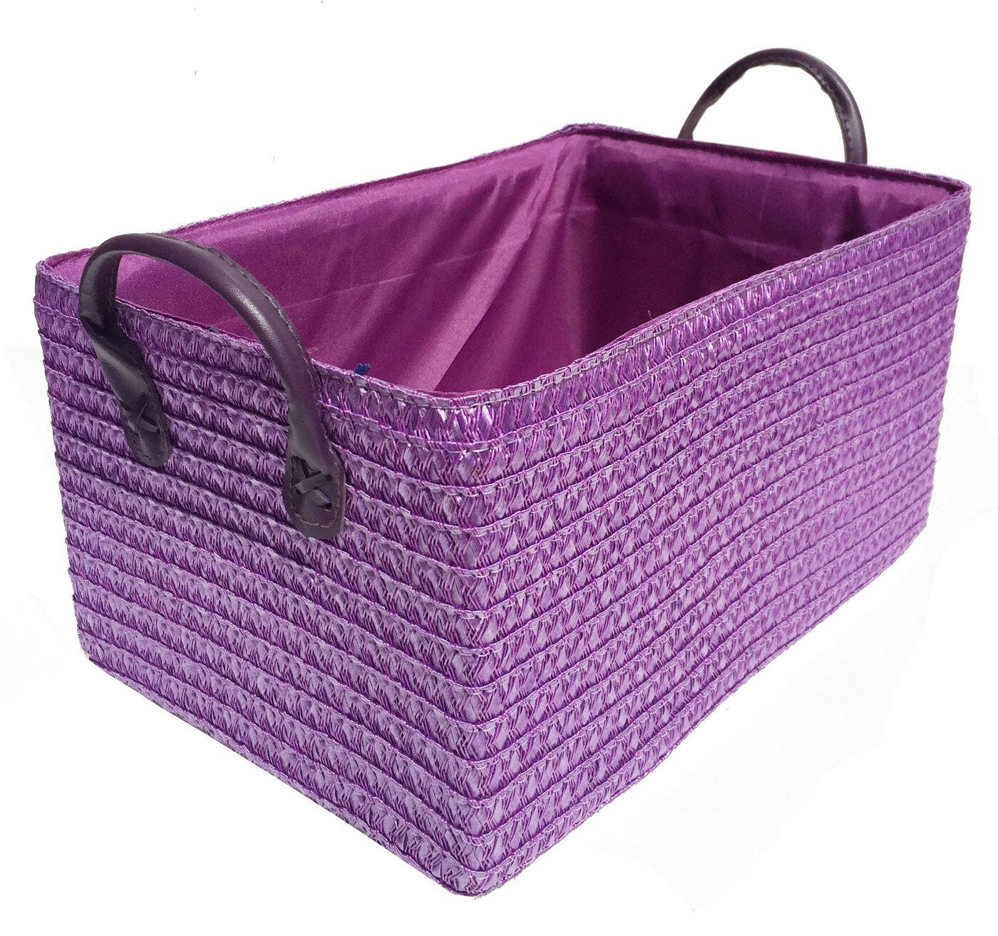Neón púrpura brillante Juguetes ARMARIO ARMARIO ARMARIO COCINA CESTA ALMACENAJE + Manija 0979a7