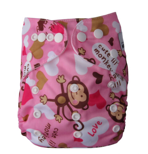 Monkey Girl One Size Fits All Modern Cloth Nappies /& Insert Reusable