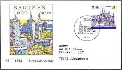 Gelaufen Fdc Nr 2232 Mit Berliner Sonderstempel 1a 159 100% Hochwertige Materialien Brd 2002: Bautzen 1000