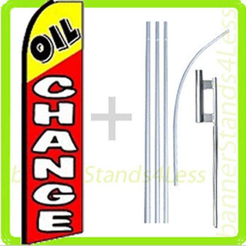 OIL CHANGE Swooper Flag KIT Feather Flutter Banner Sign 15' Set - rq