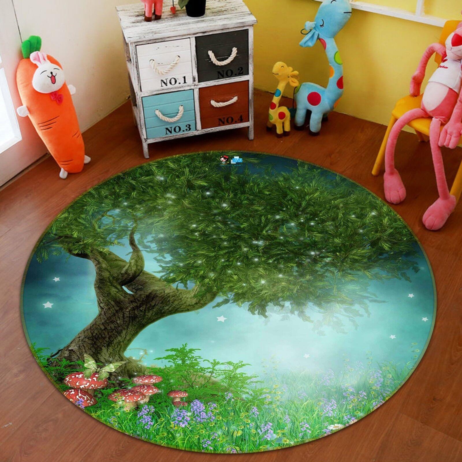 3D Forest Plantes 0220 Étage Antidérapant Natte Rond Élégant Tapis FR Summer