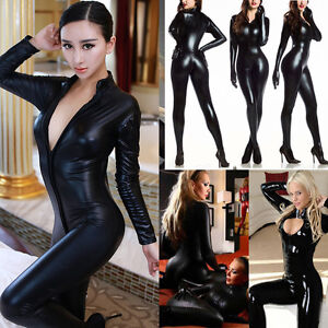 4c8e2947d461 Image is loading Women-Vinyl-PVC-Wetlook-Leather-CATSUIT-CLUBWEAR-Bodysuit-