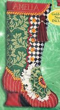 """Bucilla """"Step in Time"""" Victorian Christmas Boot Needlepoint Stocking Kit 60787"""