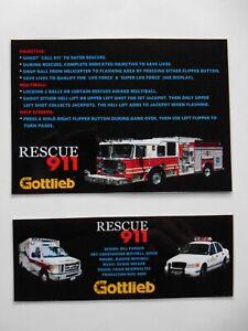 * * 'RESCUE 911' Gottlieb 1994 Custom Instruction/Apron Cards * * (New)