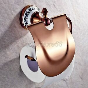 Rose-Golden-Brass-Porcelain-Base-Wall-Mount-Bath-Toilet-Paper-Roll-Holder-qba385