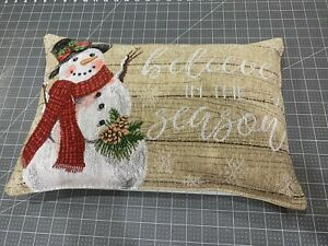 Handmade Winter Snowman Snowflakes Believe Tapestry Lumbar