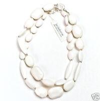 Liz Claiborne Silvertone Semi-precious Accents Necklace 36 Msrp $45
