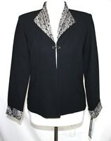 Perceptions - - 8p (pm) - Solid Black - Jeweled Clasp Close Suit Jacket