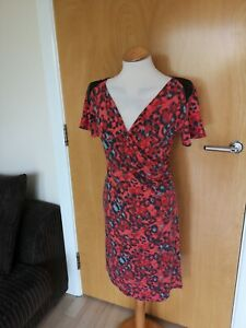 Ladies-Dress-Size-16-Red-Black-Stretch-Smart-Casual-Day-Party