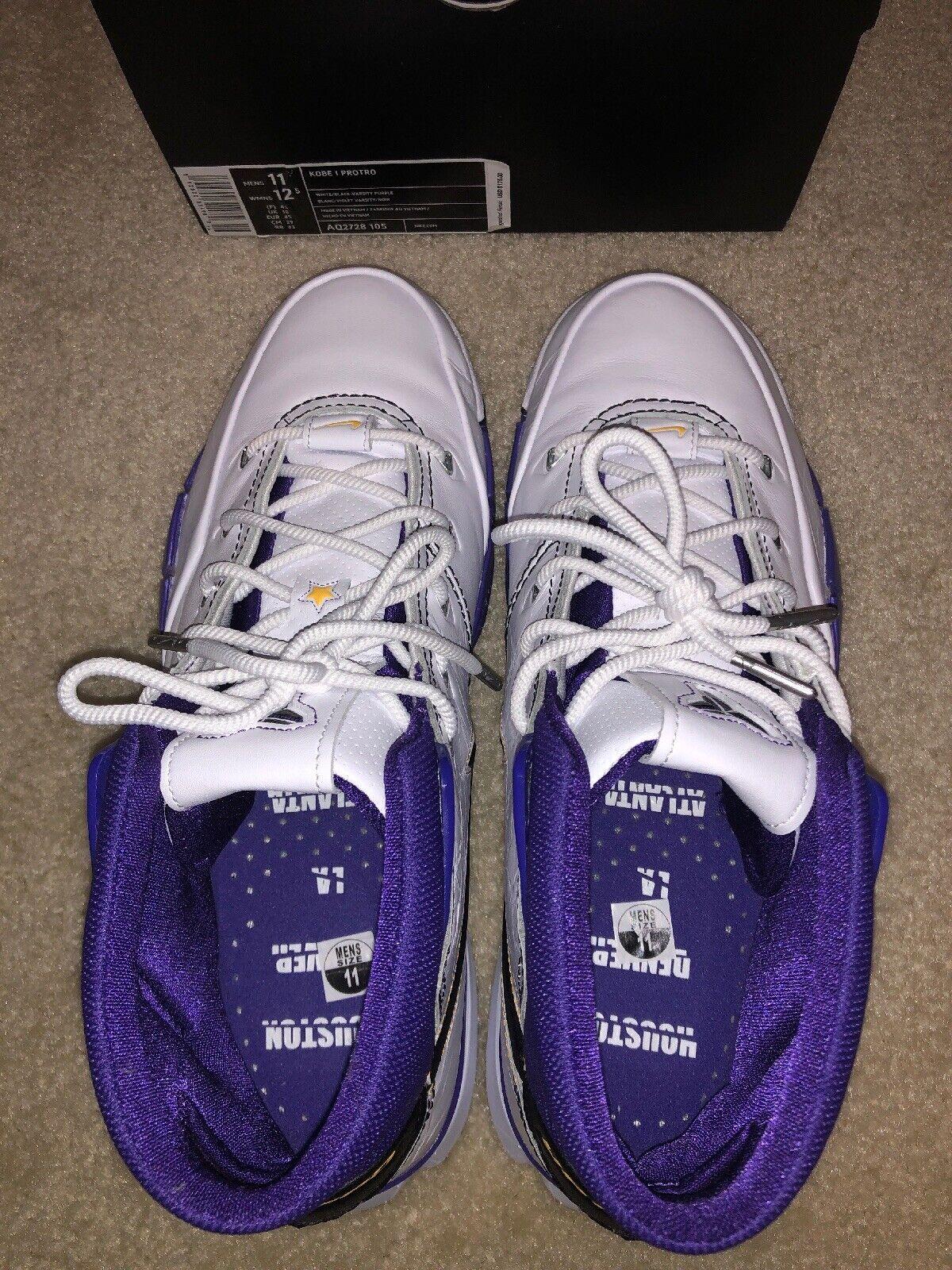 Nike Kobe 1 prougero noir blanc Varsity-violet Homme Sz 11 AQ2728-105 NOUVEAU NO couvercle
