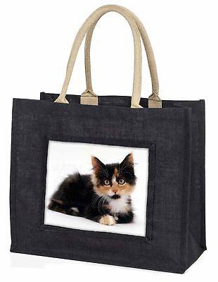 süß Schildkrötenpanzer Kätzchen große schwarze Einkaufstasche Weihnachtsgeschenk