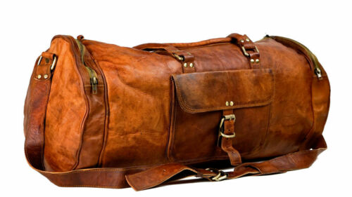 Men/'s Genuine Leather Vintage Duffel Overnight Carry-On Travel Luggage Gym Bag