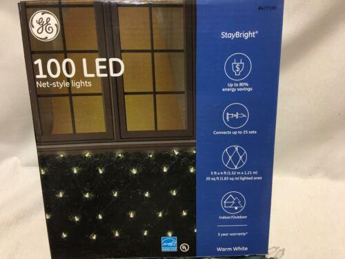 GE StayBright 100 LED Net-style 20 sq Feet 5 x 4 Ft Net Christmas Lights 477590