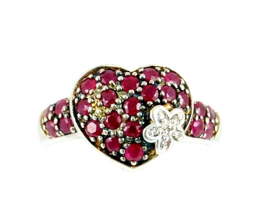 14K White gold 11.5mm Pave Round Cut Ruby Diamond Flower Heart Ring Size 7