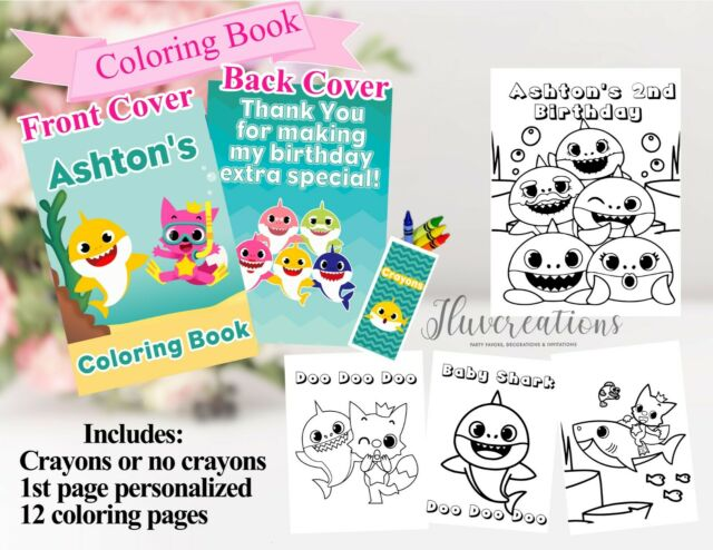 Baby Shark Coloring Books,Baby shark party Favors, baby ...