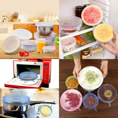 6pcs//Set Reusable Silicone Stretch Lids Keep Fresh Kitchen Storage Wraps Cover