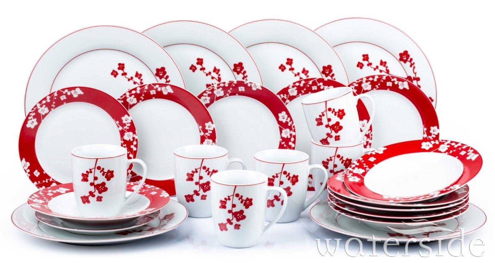 24pcs Set cena di Natale Blossom Rosso Bianco Stoviglie Stoviglie 6 coperto
