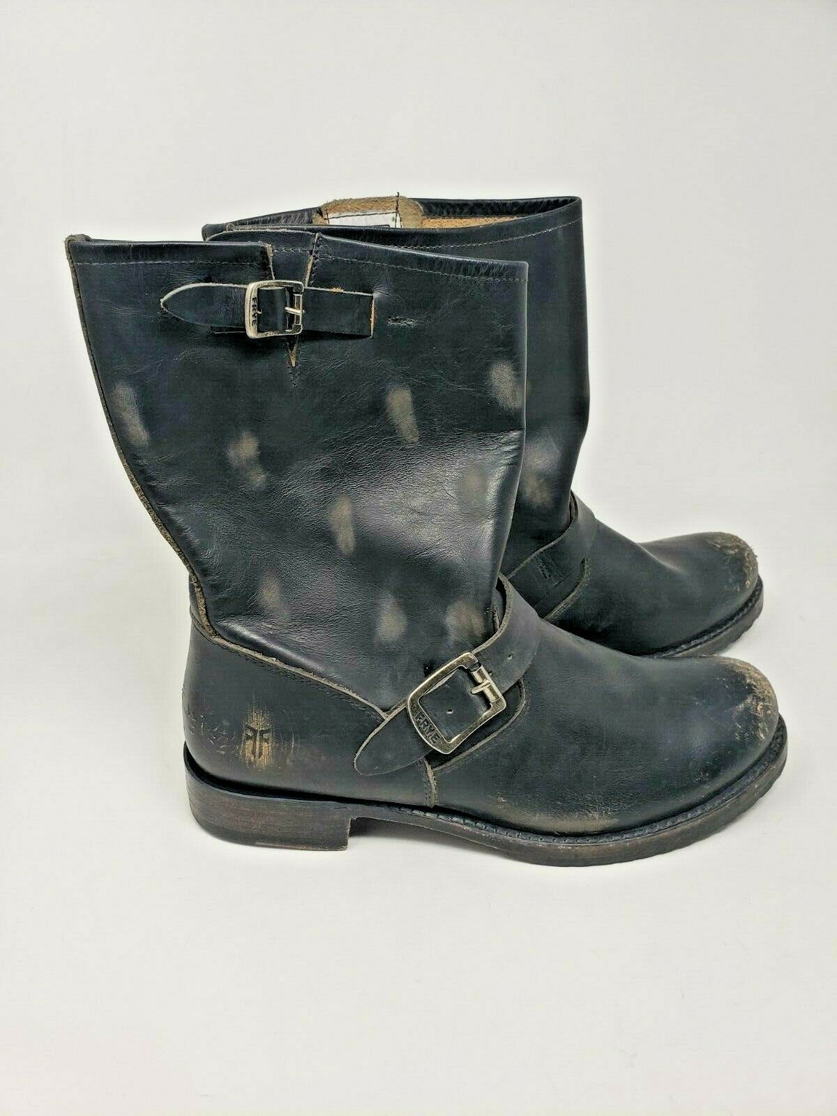 FRYE BLACK PRE-OWNED GREAT CONDITION MOTO BUCKLE VERONICA SHORT BOOT SIZE 10