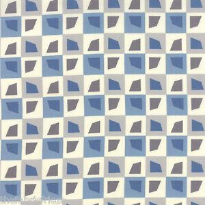 MODA Amy Ellis SERENITY Grey Geometric Bricks Sky Blue Quilt Fabric Fat Quarter