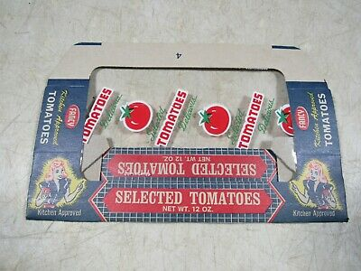 Vintage 1950/'s 60/'s Vue-Pac Fancy Kitchen Approved Tomatoes Box Package Cello