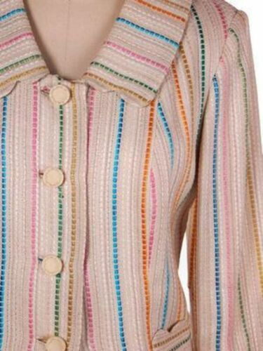 Vintage Irish Linen Suit Beige w/Color 1960s Moyga