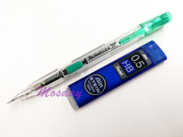 Pentel TECHNICLICK PD105T Mechanical Pencil 0.5mm Extra Fine + Leads, GREEN