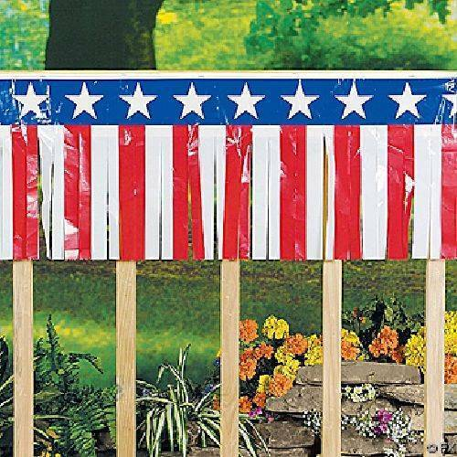 """Patriotic Fringe Garland 100ft Long 14/"""" High 4th of July Memorial Day Decoration"""