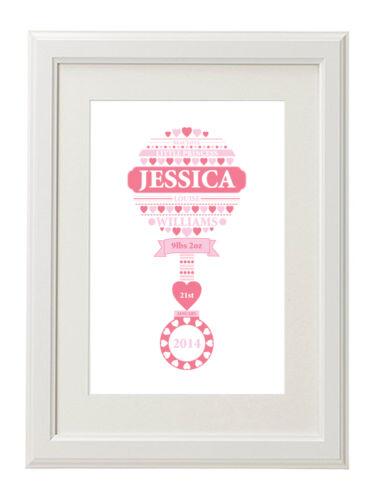 Personalised Baby Gift Newborn Baby Name Picture Boy Girl Birthday Christening