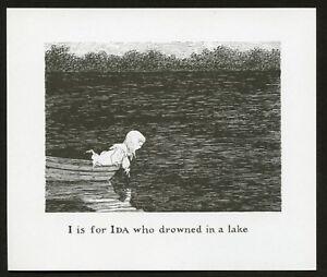 Edward Gorey illustration I IS FOR IDA Gashlycrumb Tinies macabre art print