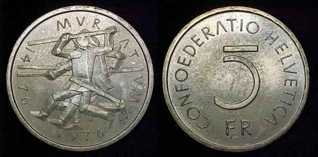 SWITZERLAND 1976 5 Francs Ch BU *Toned* ***