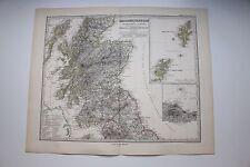 Carte de 1879, atlas Stieler,Gotha J. Perthes  Grossbritannien Schottland N°47