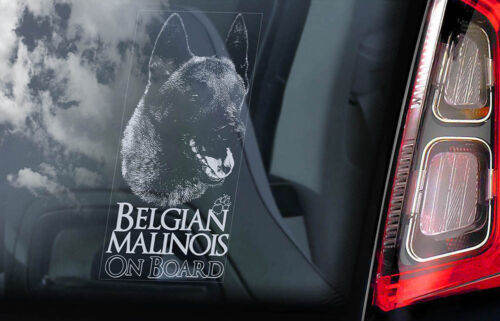 Belgian Malinois on Board Car Window Sticker Mechelse Dog Sign Decal V19