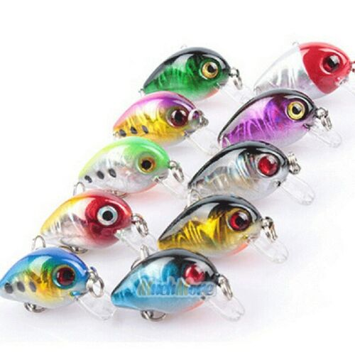 10 x Fishing Lures Crankbaits Treble Hooks Minnow Crank Baits Tackle Bass Minnow