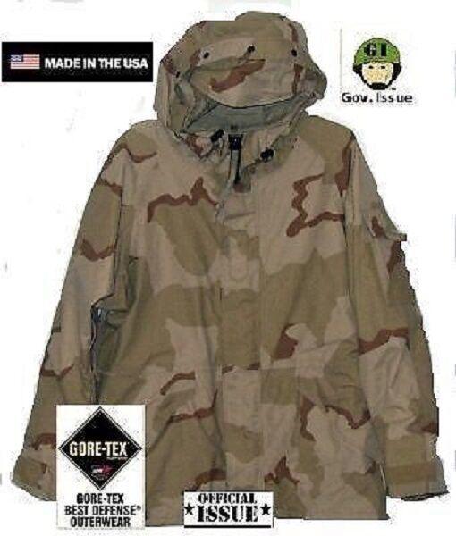 Us Army 3 Color Desert DCU Goretex Ecwcs Cold Weather chaqueta Parquea large Largo