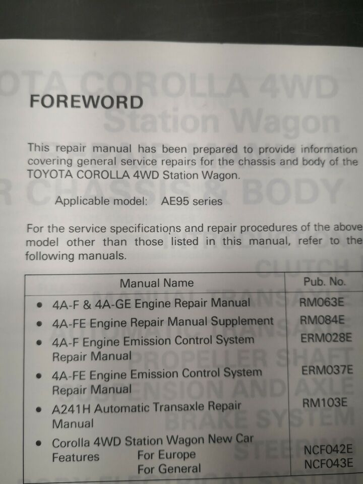 Reparationsbog, Toyota Corolla AE95 serie