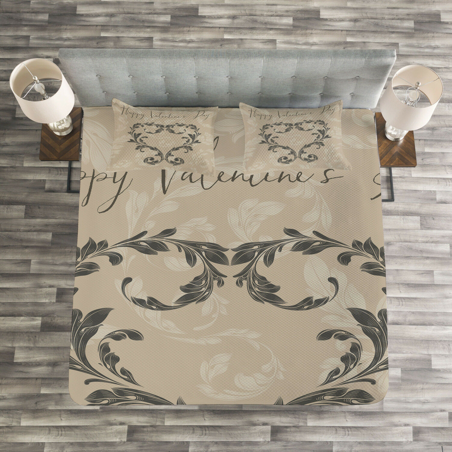 Victorian Quilted Bedspread & Pillow Shams Set, Valentine's Day Taupe Print