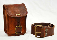 Men Real vintage leather hunters choice waist pouch with belt goat hide classic@