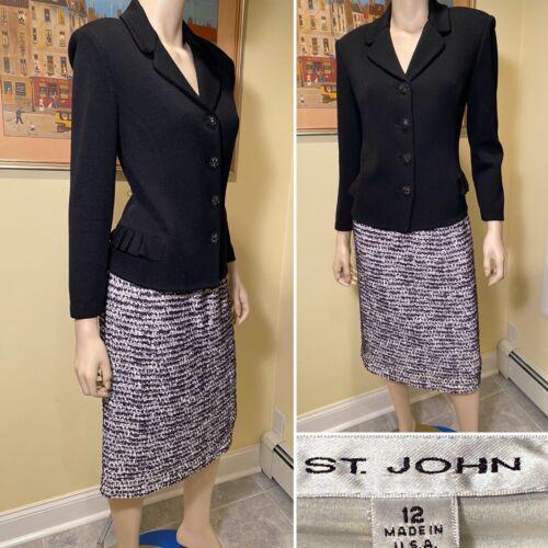 ST JOHN Size 12 Black & White Boucle Tweed/Santana