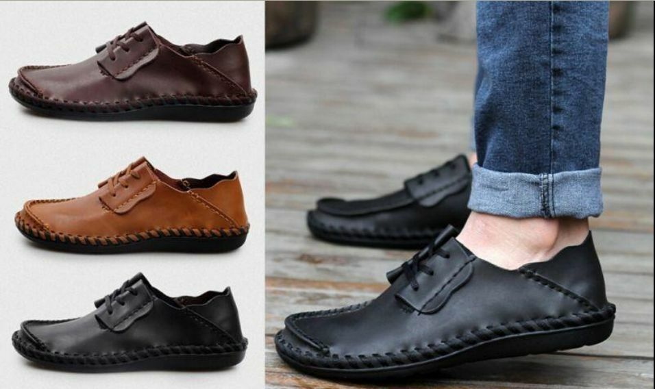 Fashion Mens Casual Lace Up Leather Comfort Moccasins Driving Loafer shoes New