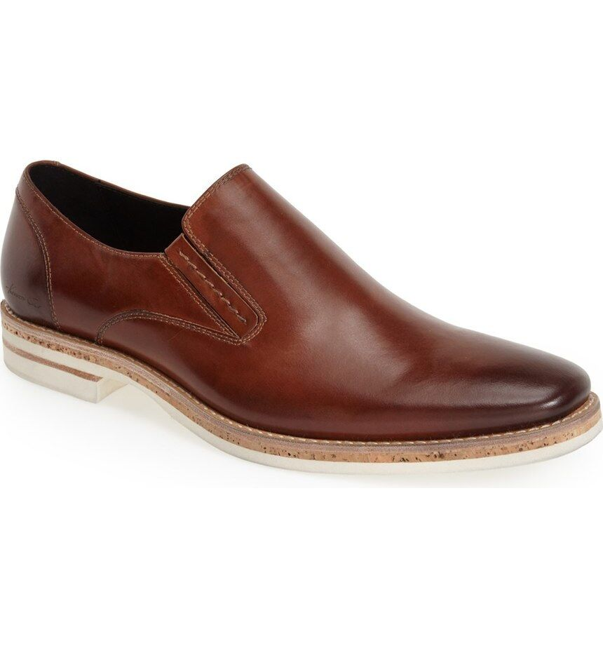 Kenneth Cole  Slip Uomo Pop The Cork Slip  On Loafers Cognac Leder 8 NEW IN BOX d19097