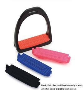 Premium-Profile-English-Stirrups-4-034-Resistance-to-stress-Red-Pink-Blue-Blk-Tread