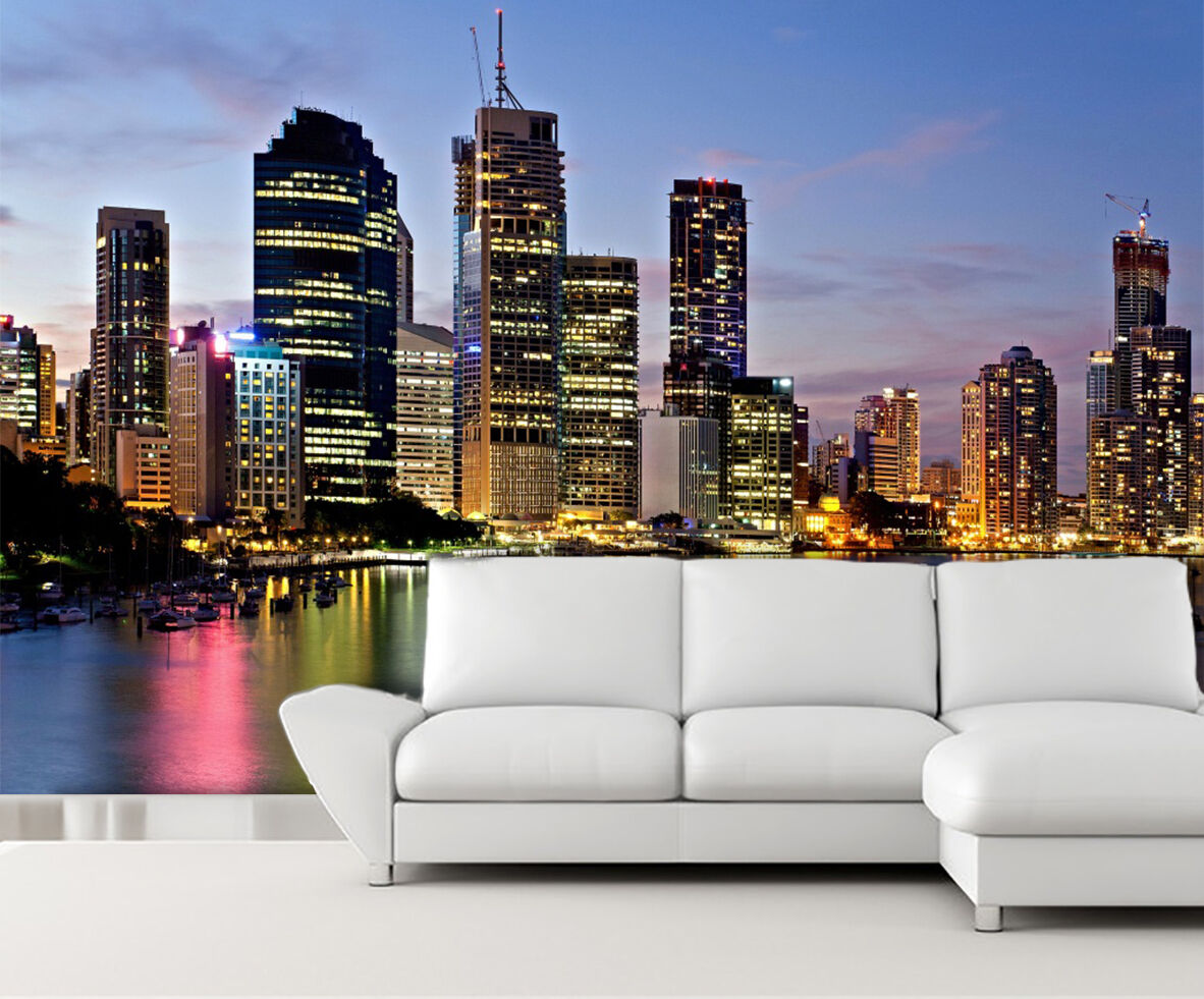 3D City Night View 041 WallPaper Murals Wall Print Decal Wall Deco AJ WALLPAPER