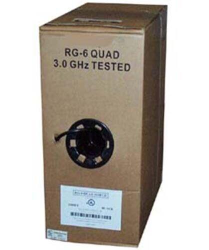 1000Ft RG6 RG//6 Quad Shielded Satellite TV Bulk Coaxial Coax Cable Black